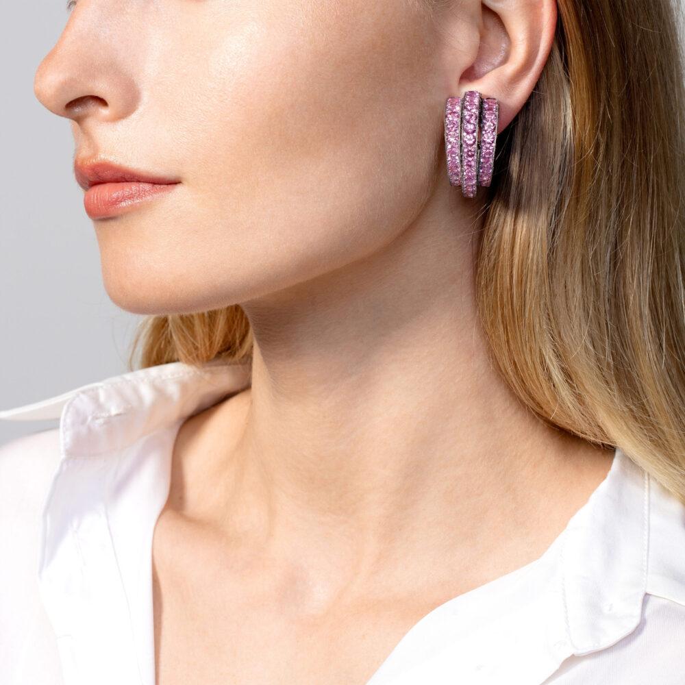 Pink Sapphire and Diamond Earrings