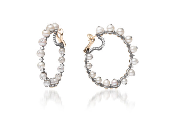 Natural Pearl And Diamond Hoop Earrings» Price On Request «