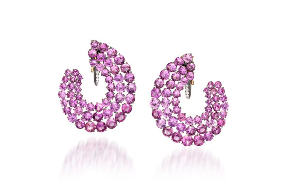 Pink Sapphire And Diamond Creole Ear Clips» Price On Request «