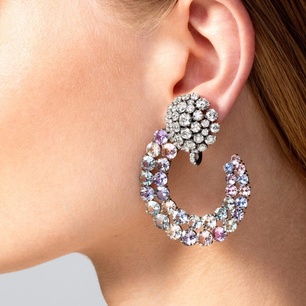 Colored Sapphire and Diamond Creole Ear Pendants