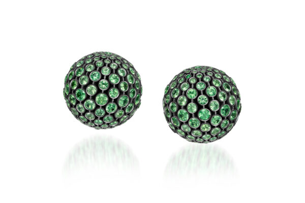 Tsavorite And Diamond Dome Ear Clips» Price On Request «