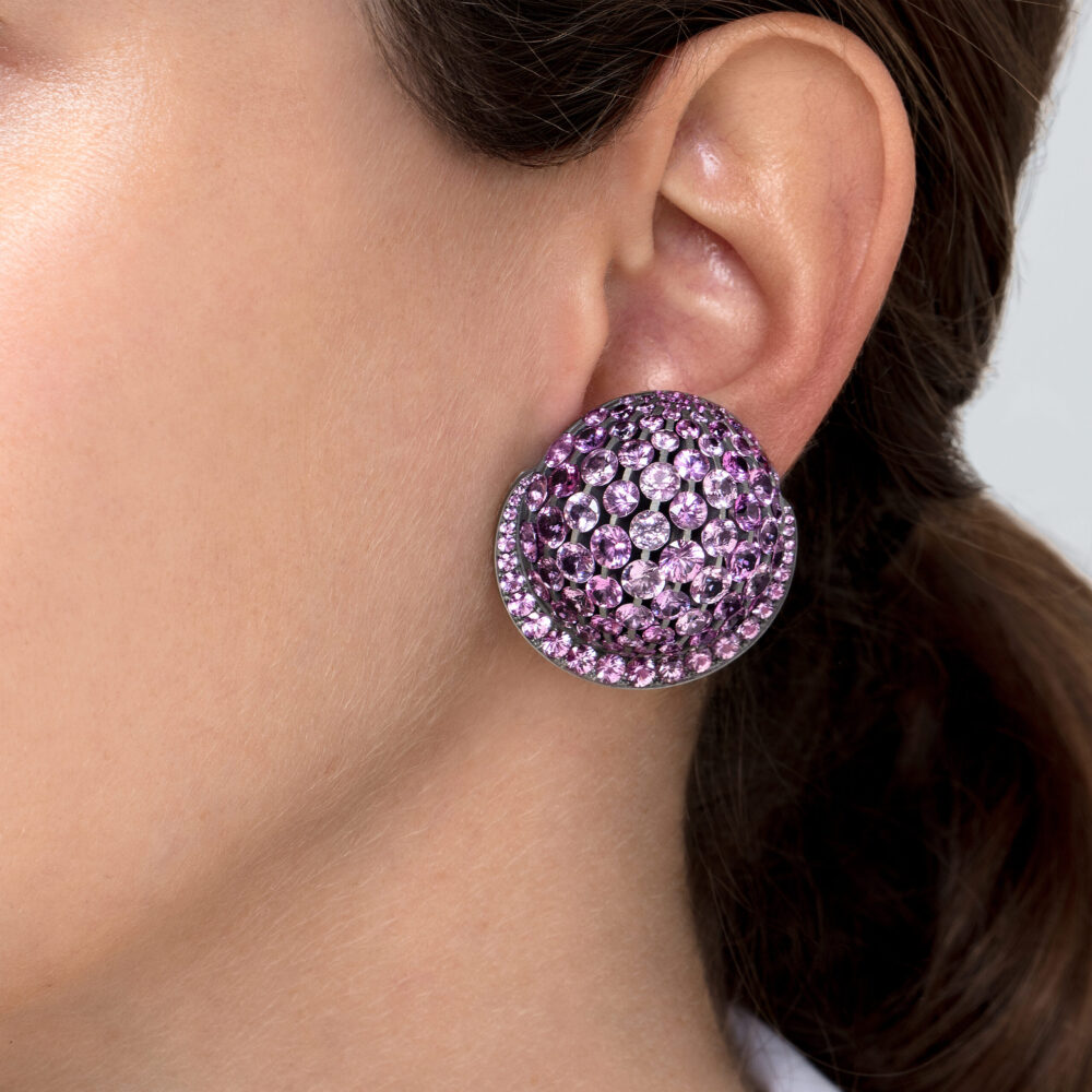 Pink Sapphire and Diamond Dome Ear Clips