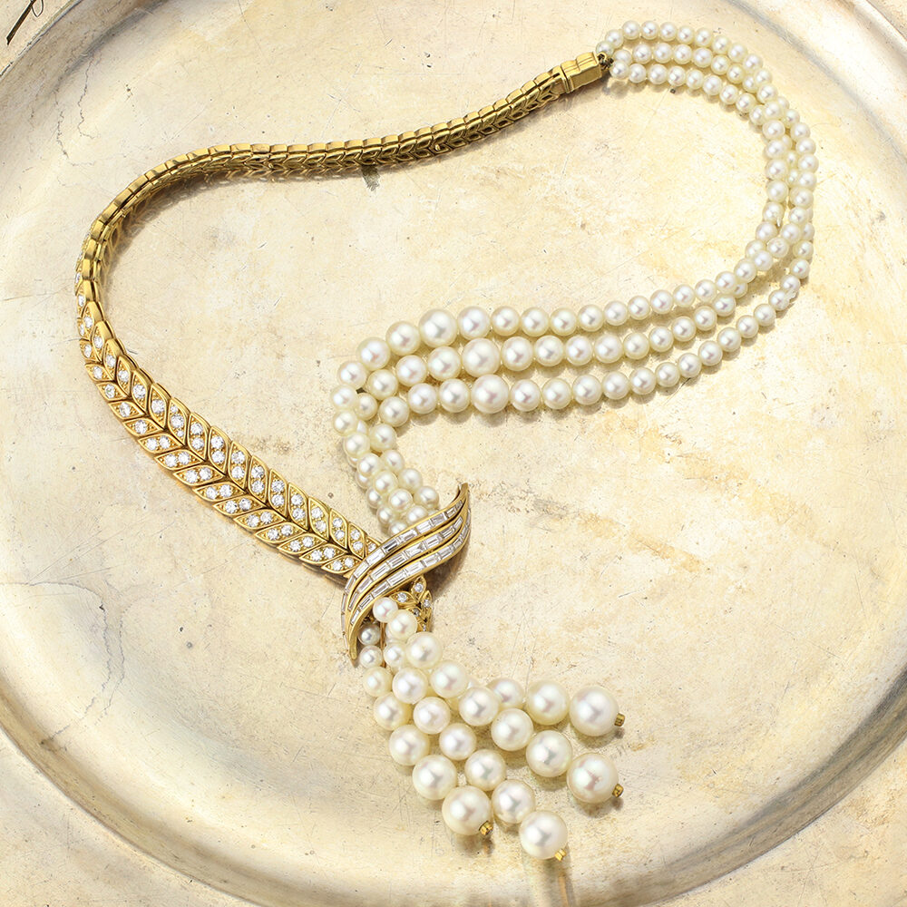Pierre Sterle Pearl and Diamond Necklace