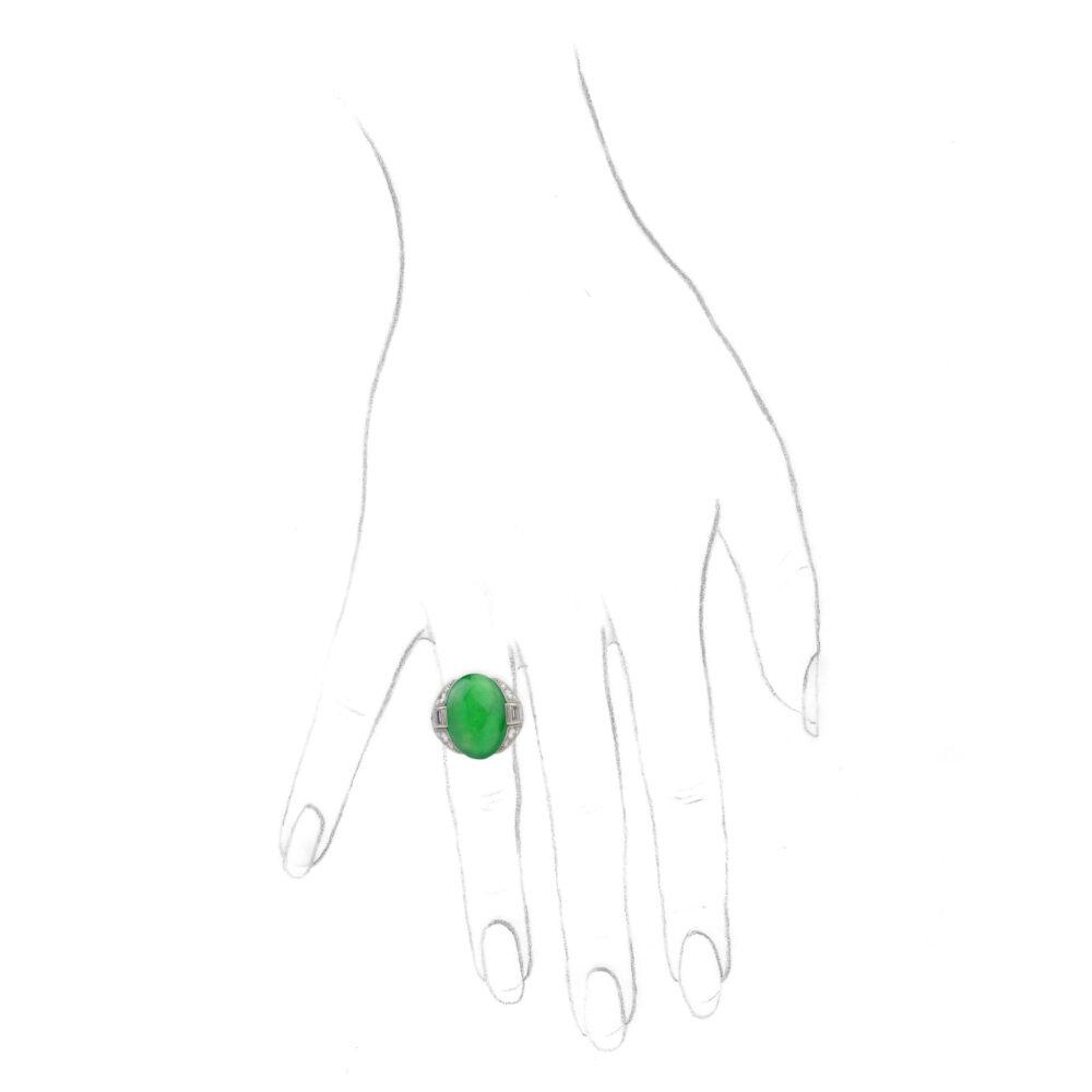 Art Deco Jade and Diamond Ring