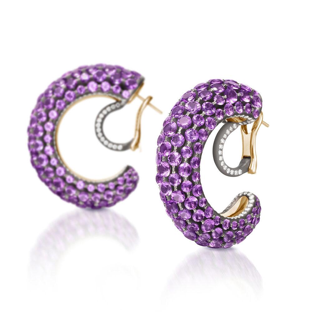 Amethyst and Diamond Creole Earrings