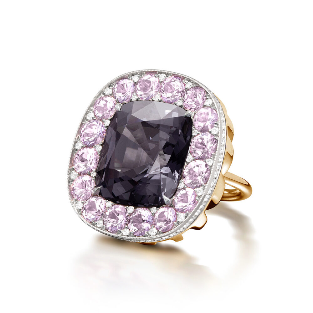 Greyish Purple Spinel, Sapphire and Diamond Ring