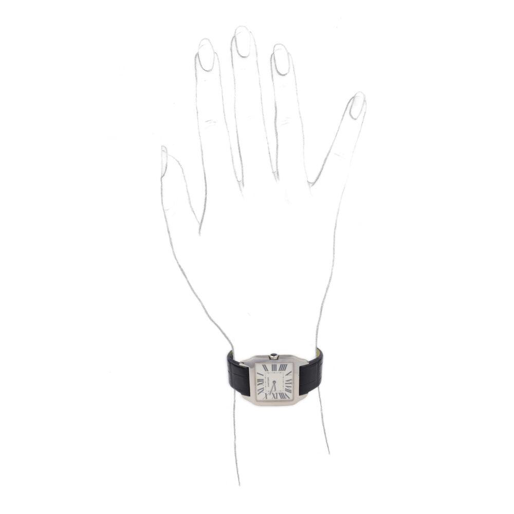 Cartier White Gold Santos Dumont Wristwatch