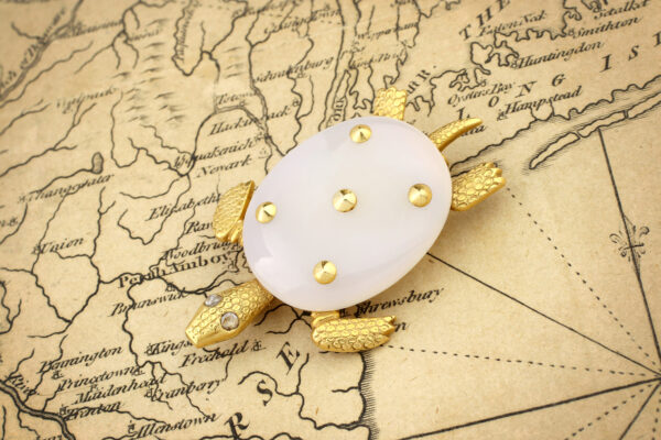 Cartier Chalcedony, Diamond And Gold Turtle Brooch