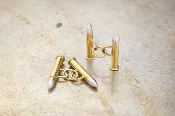 Cartier Two Tone Gold 'Bullet' Cufflinks