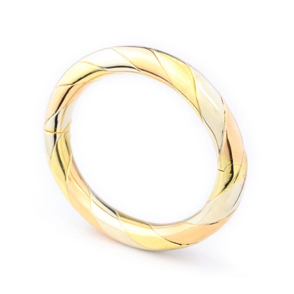 Tri-color Gold Bangle Bracelet