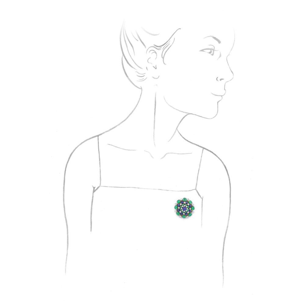 A Diamond, Emerald and Sapphire Brooch