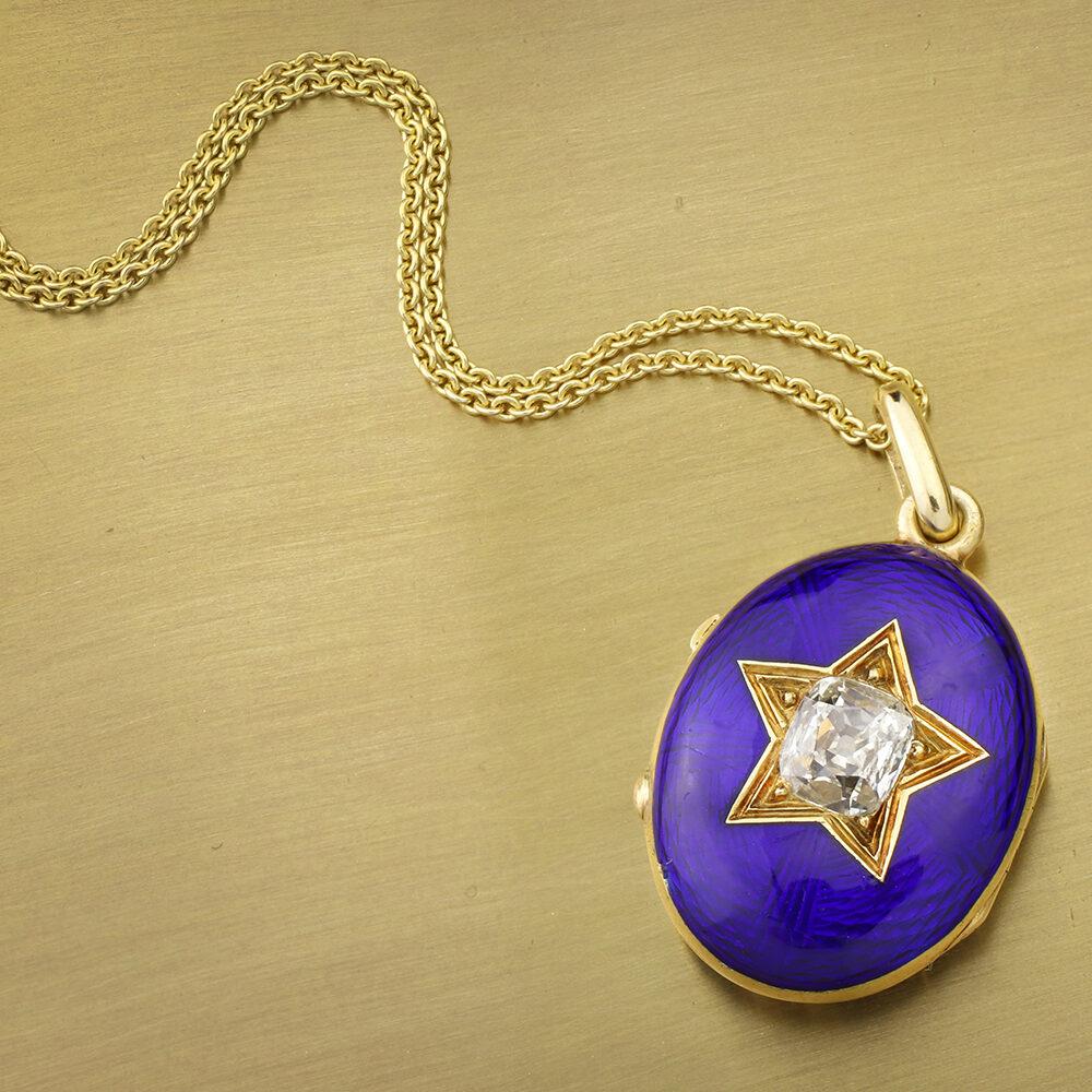 Antique Diamond and Enamel Locket