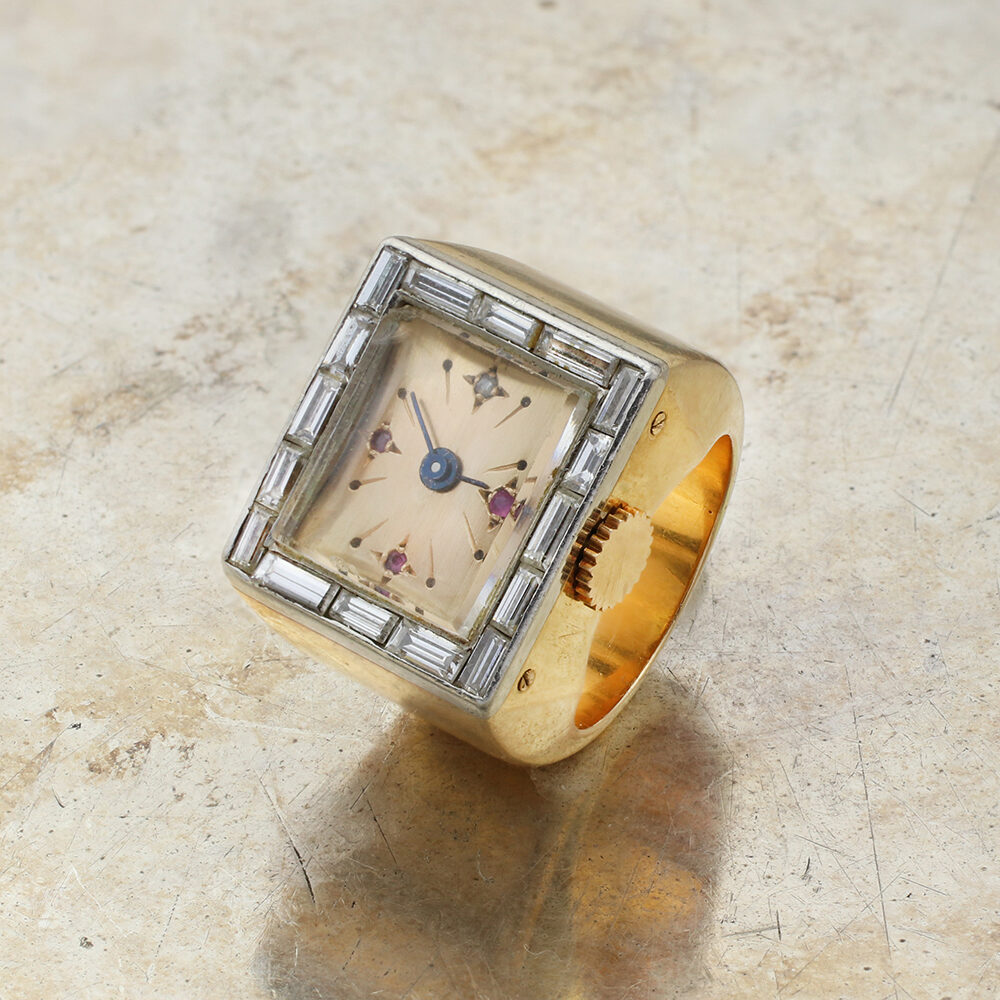 Gold and Diamond Watch Ring
