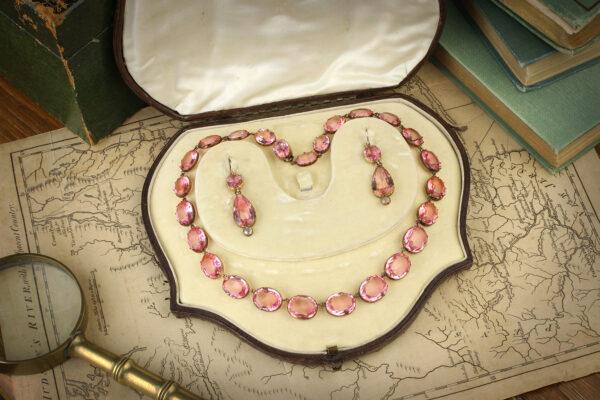 Antique Set Of Pink Paste Jewelry