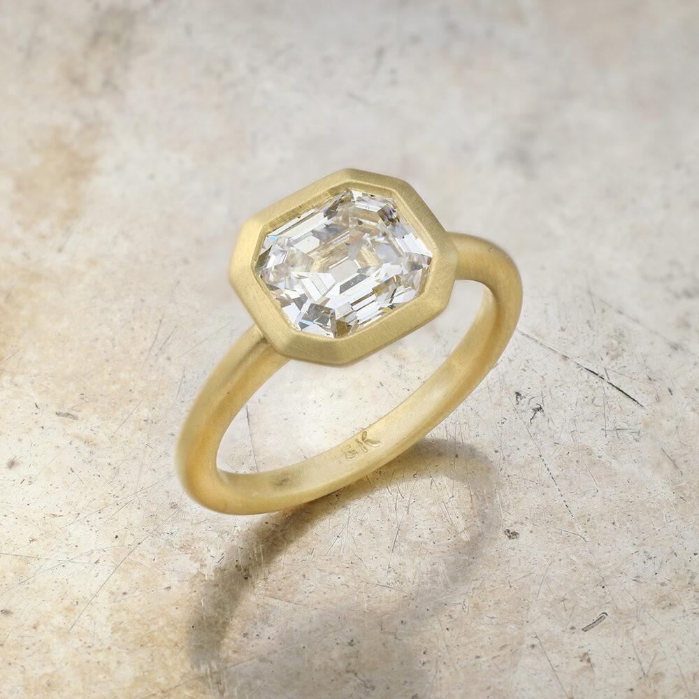 Octagonal Step Cut Diamond Ring