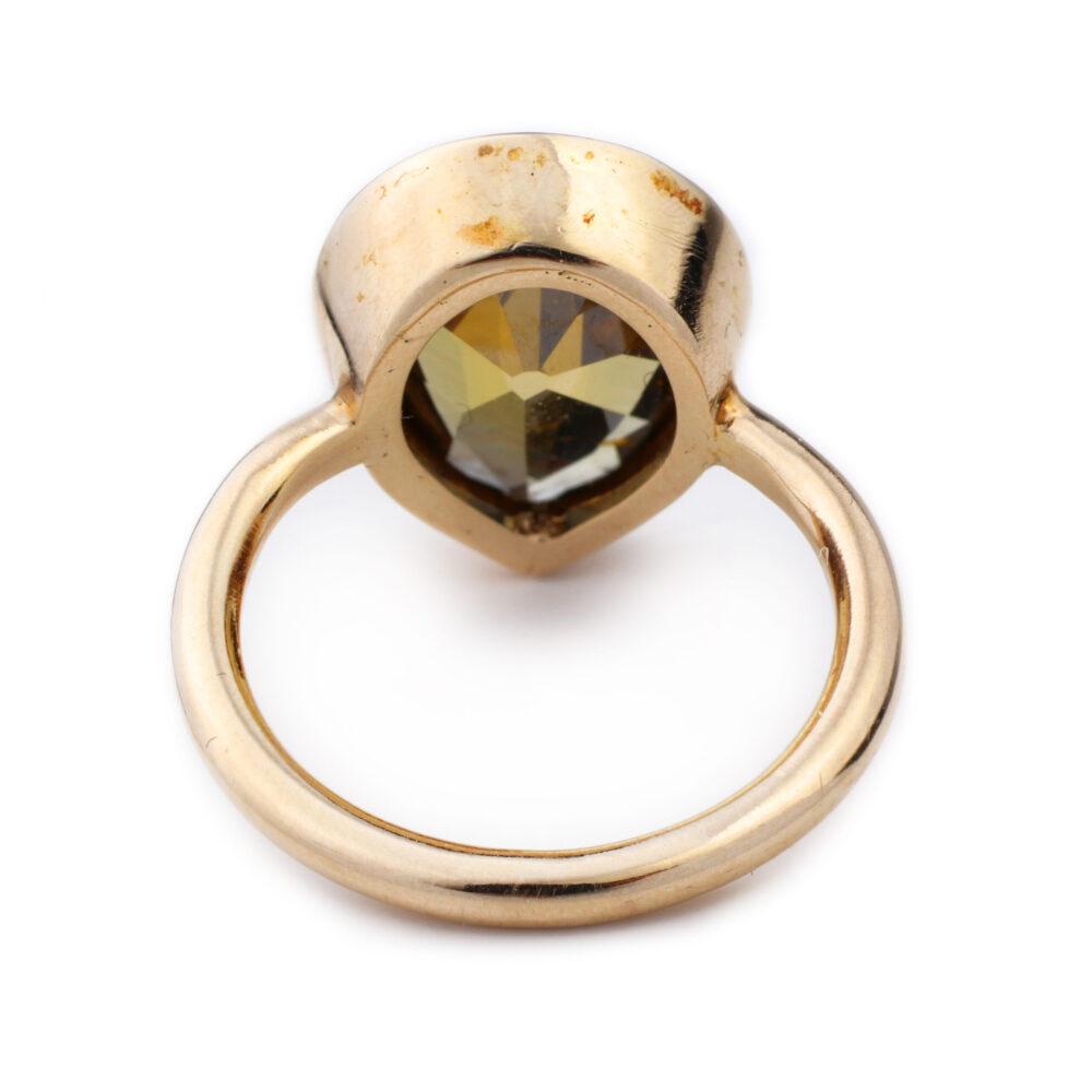 Brown Pear Shaped Diamond Ring
