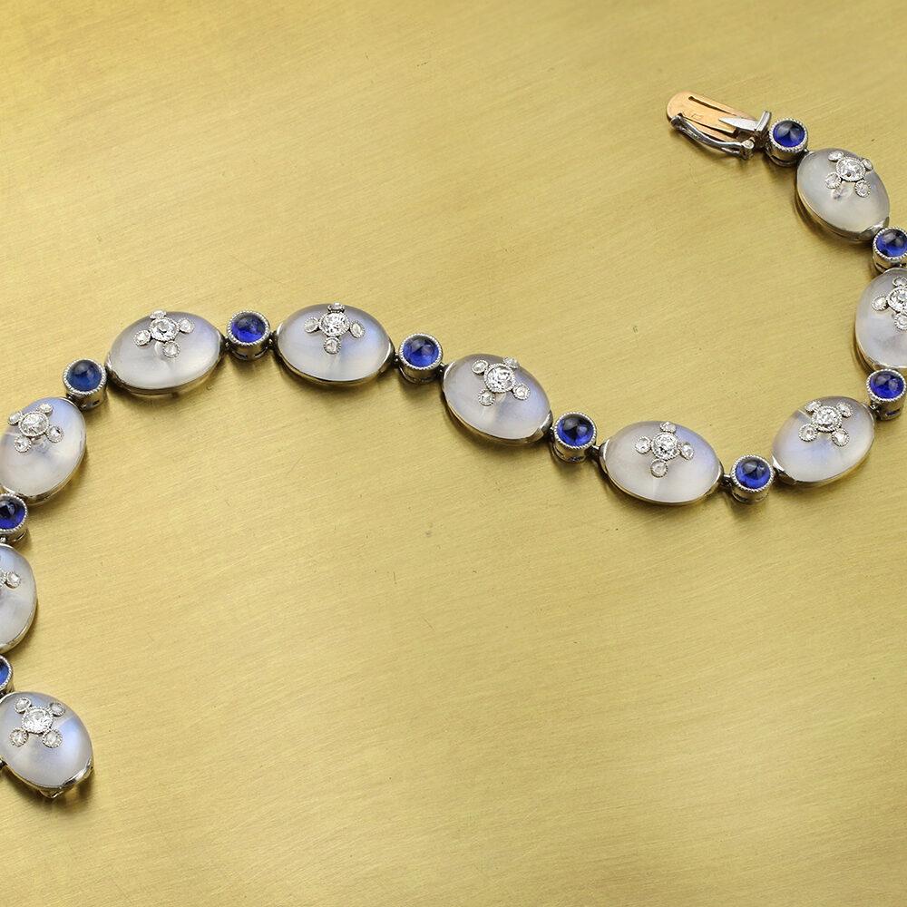 Belle Epoque Moonstone, Sapphire and Diamond Bracelet