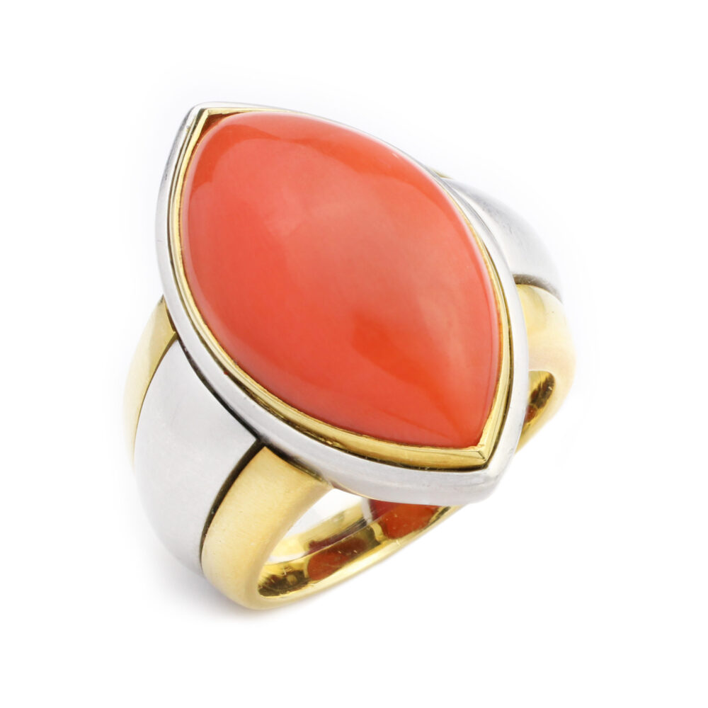 Hemmerle Coral, Gold and Platinum Ring