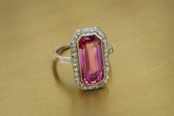 Antique Pink Topaz And Diamond Ring