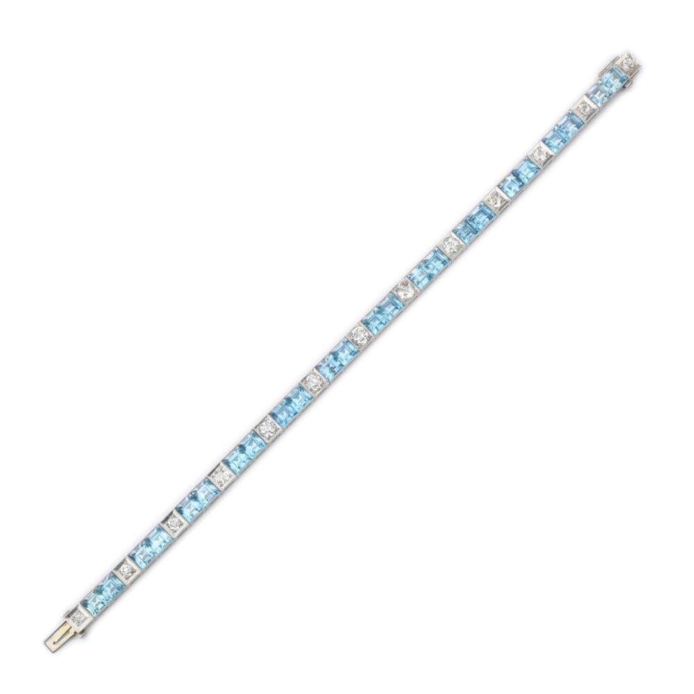 Aquamarine and Diamond Line Bracelet