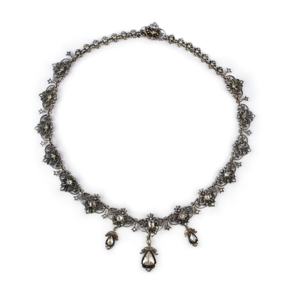Antique Rose Cut Diamond Necklace
