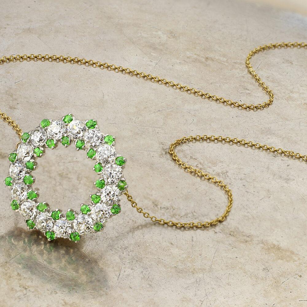 Demantoid Garnet and Diamond Pendant Necklace