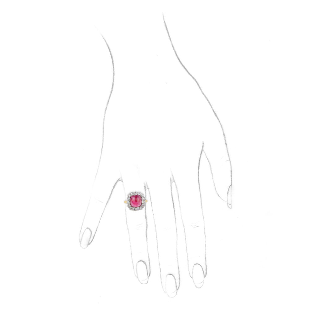 Pink Tourmaline and Diamond Ring