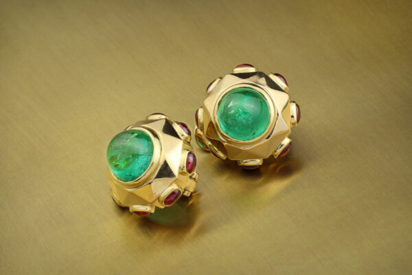 Bulgari Emerald, Ruby And Sculpted Gold Ear Clips