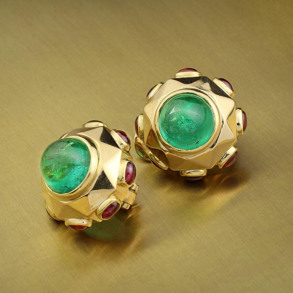 Bulgari Emerald, Ruby and Sculpted Gold Ear Clips, Circa 1980