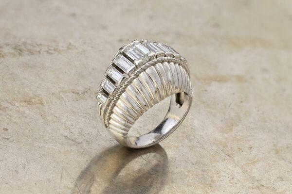 Baguette Diamond Set Platinum Cocktail Ring