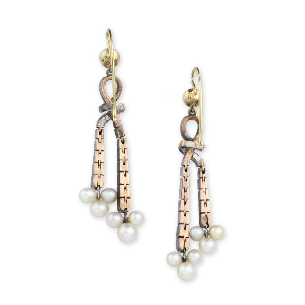 Antique Natural Pearl and Diamond Ear Pendants