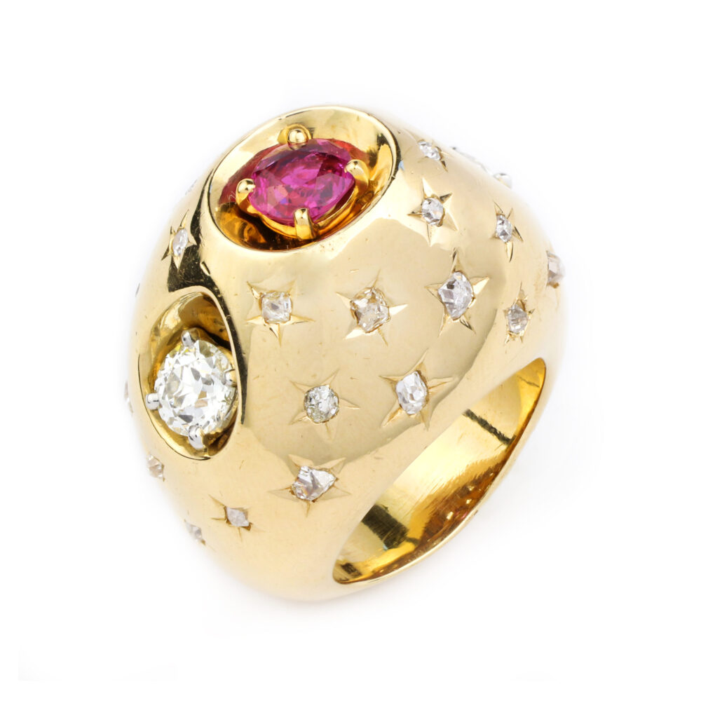 Cartier Retro Gold, Ruby and Diamond Ring