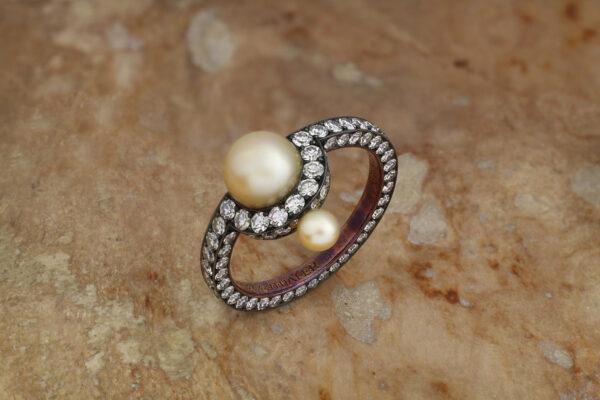 Nadia Morgenthaler Natural Pearl And Diamond Ring