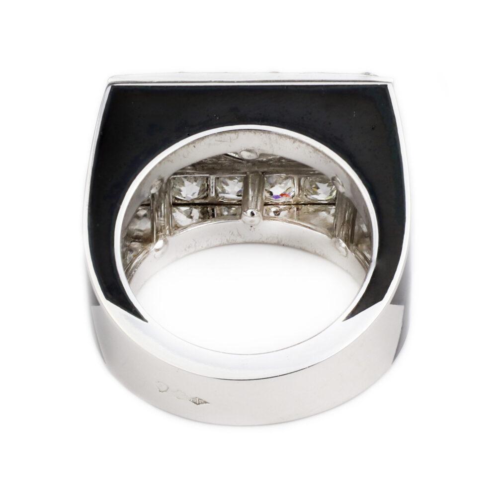 Diamond and Black Enamel Cocktail Ring