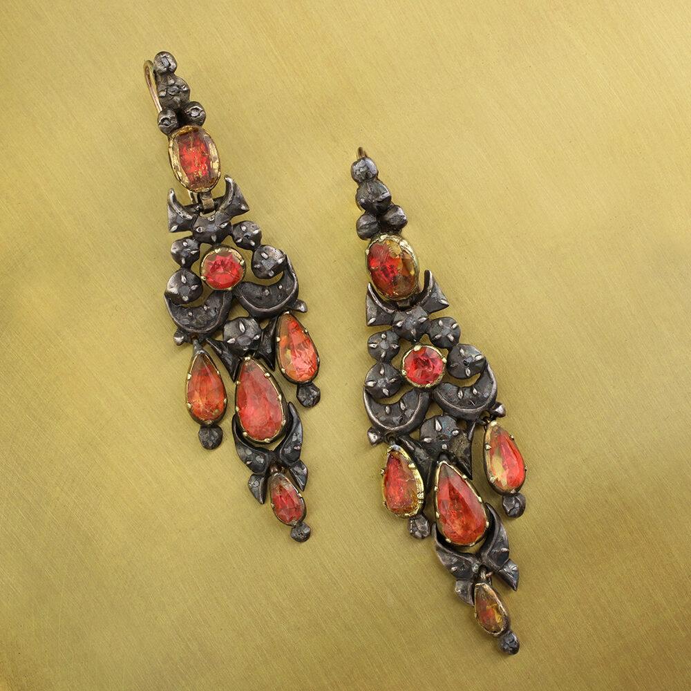 Antique Topaz, Silver and Gold Chandelier Ear Pendants