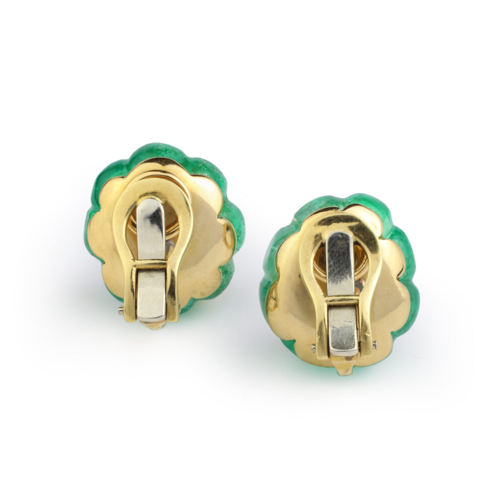 Carved Emerald and Diamond Ear Clips