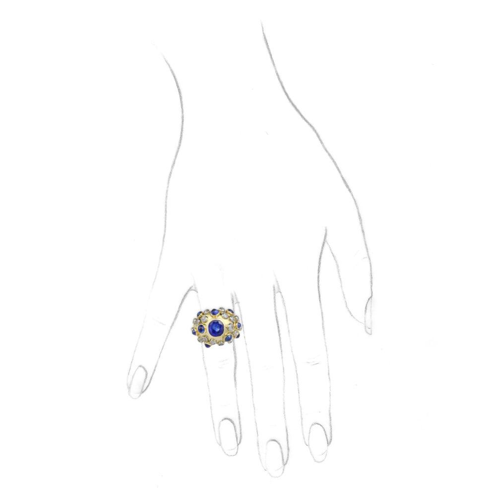 "Belperron Burma Sapphire, Diamond, Gold and Platinum ""Cloue"" Ring"