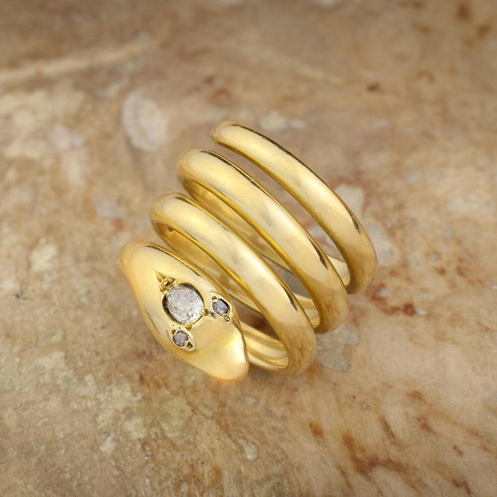 Victorian Diamond Set Gold Snake Ring