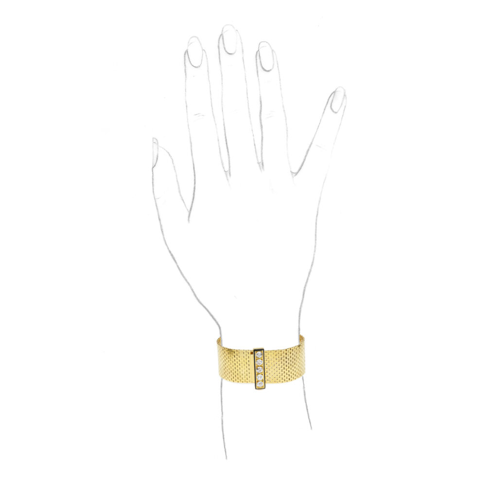 Van Cleef & Arpels 'Ludo Briquettes' Gold, Enamel and Diamond Bracelet