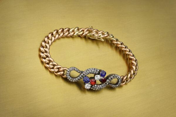Sapphire, Ruby And Diamond Set Chain Bracelet