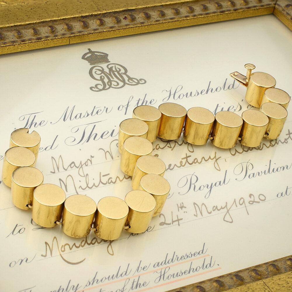 Cylindrical Shape Gold Link Bracelet