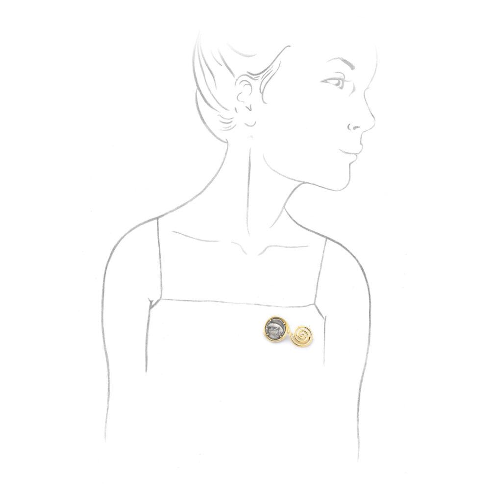 Bulgari 'Monete' Ancient Coin and Gold Pin Brooch