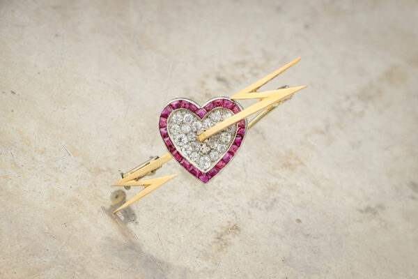 Diamond And Ruby Heart And Bolt Brooch