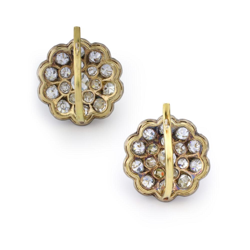 Antique Diamond Set Floral Earrings