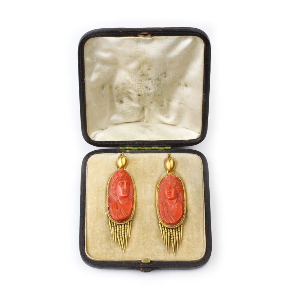 Antique Coral Cameo and Gold Ear Pendants