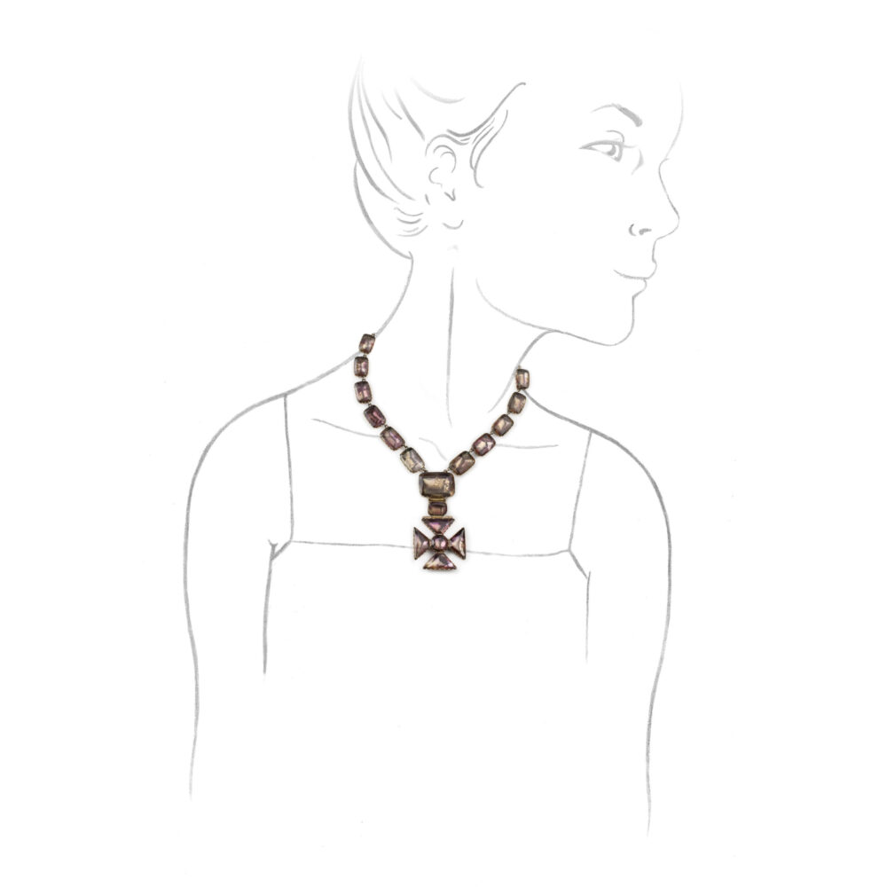 Antique Quartz Maltese Cross Pendant Necklace