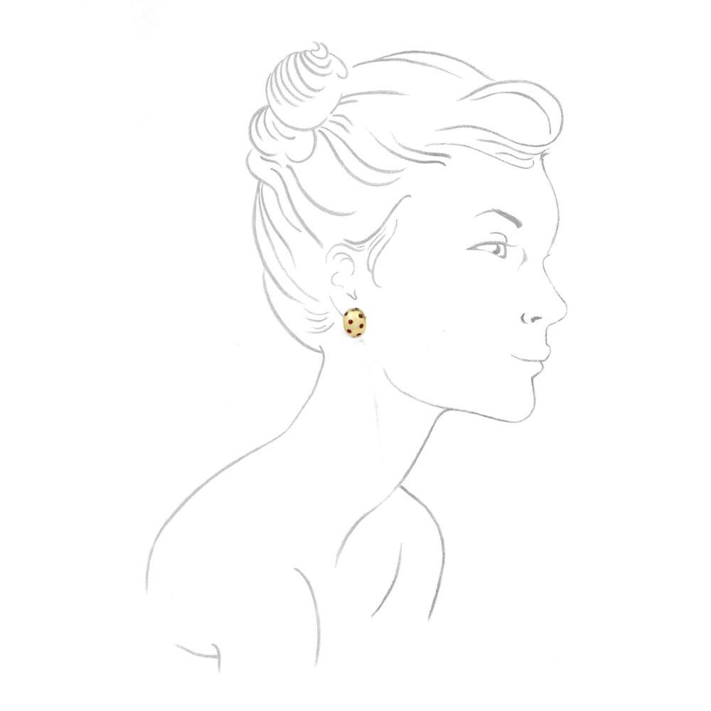 Van Cleef & Arpels Enamel and Gold Ear Clips