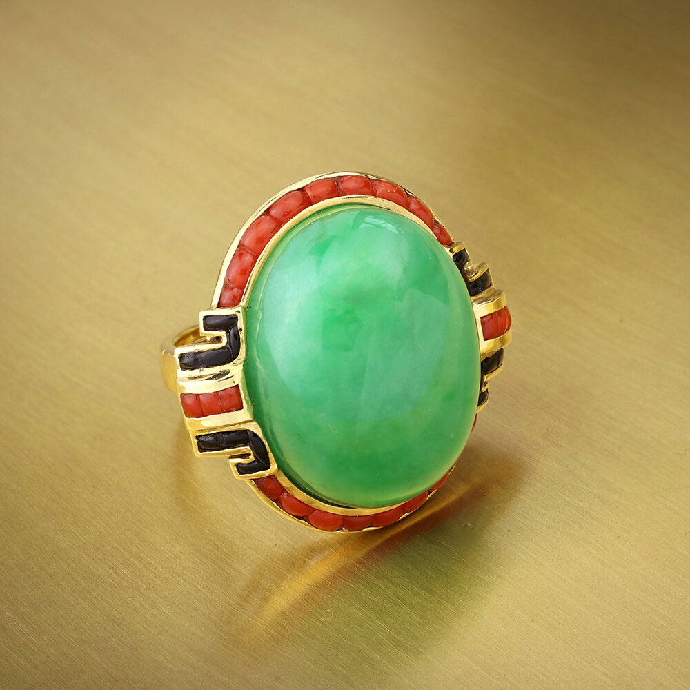 Art Deco Jade, Coral and Onyx Cocktail Ring