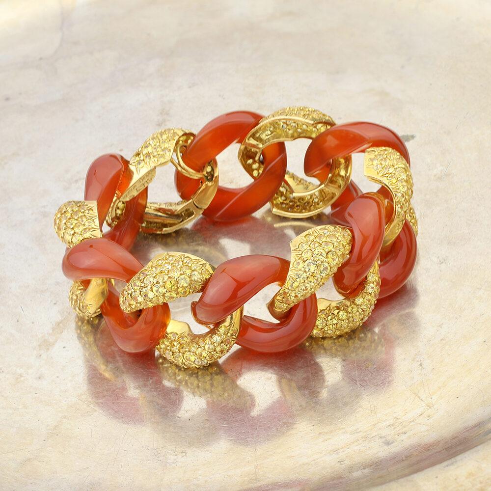 Seaman Schepps Classic Link Yellow Sapphire and Carnelian Bracelet