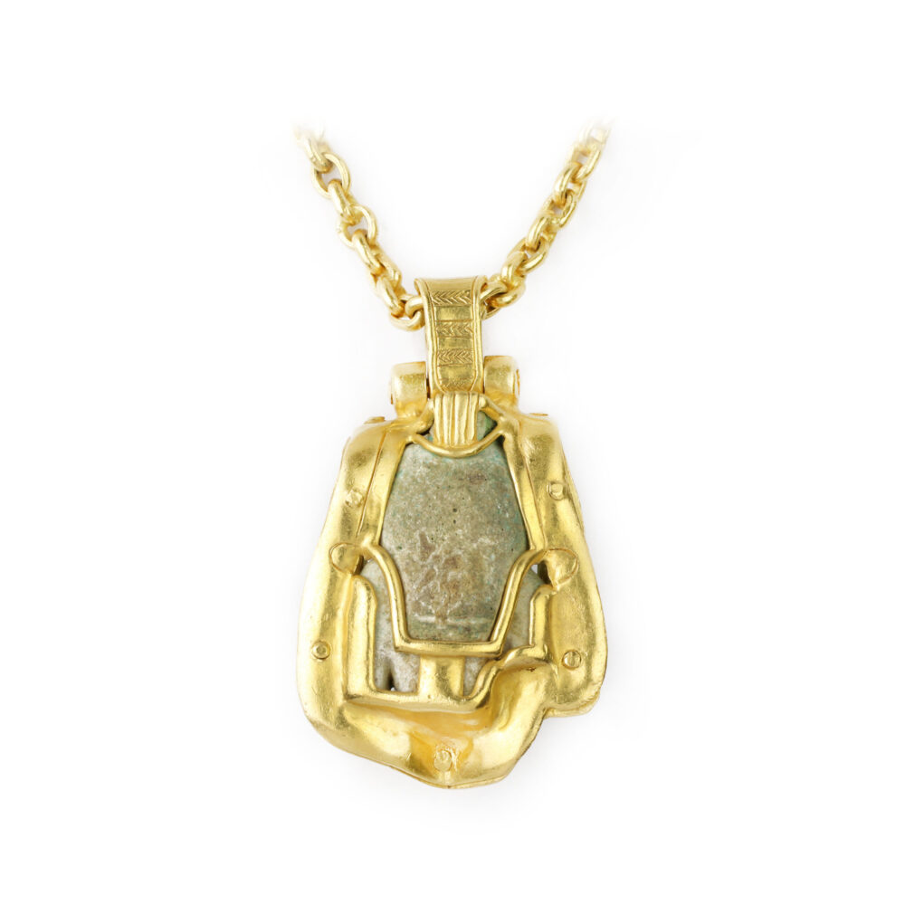 Faience and High Karat Gold Pendant Necklace